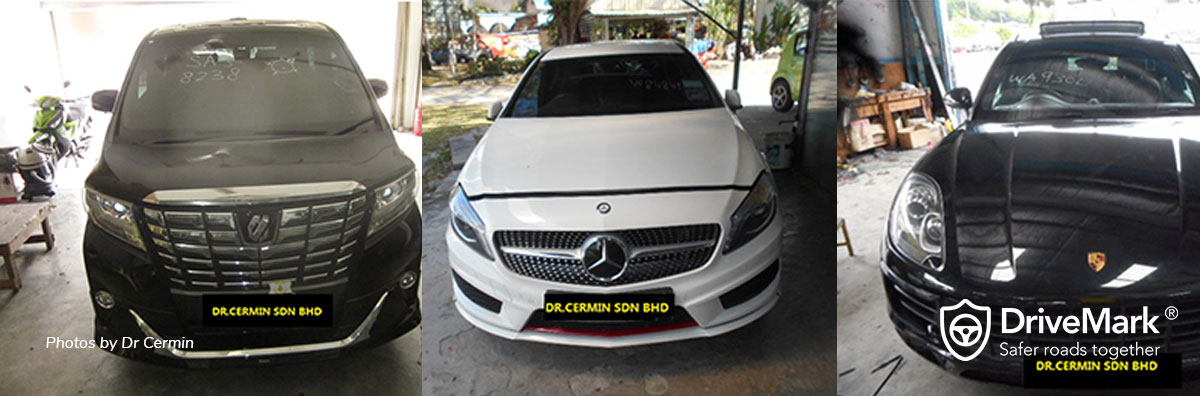 Replacing windscreen on Toyota Alphard, Mercedes-Benz A-Class and Porsche. Photos by Dr Cermin