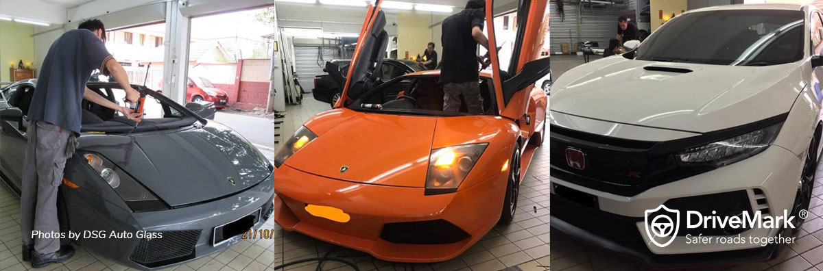 Replacing broken windscreen for high end cars. Photos by DSG Auto Glass